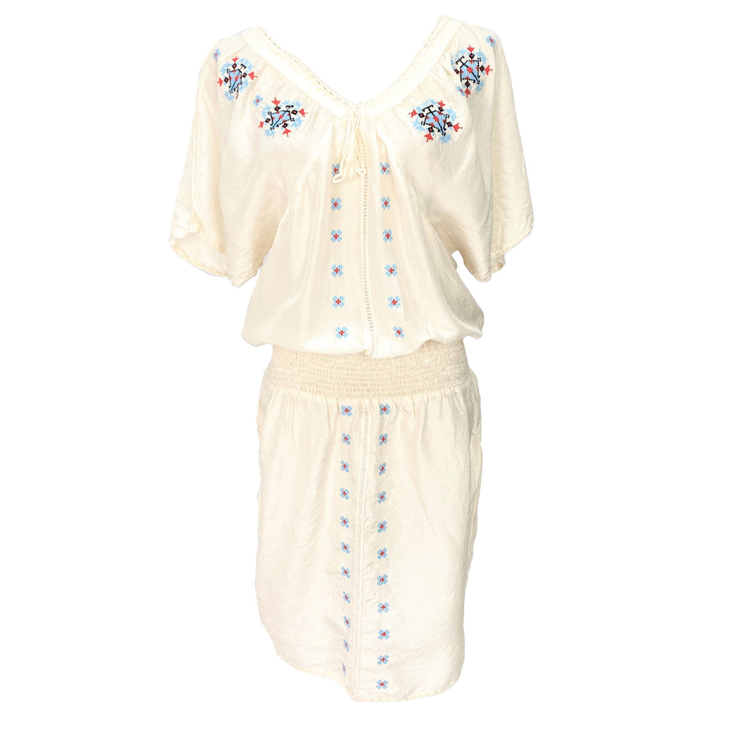 Tsumori Chisato embroidered white silk dress