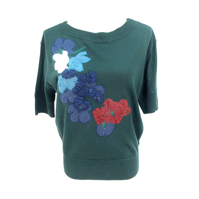Pennyblack floral embroidery green short sleeve knit top