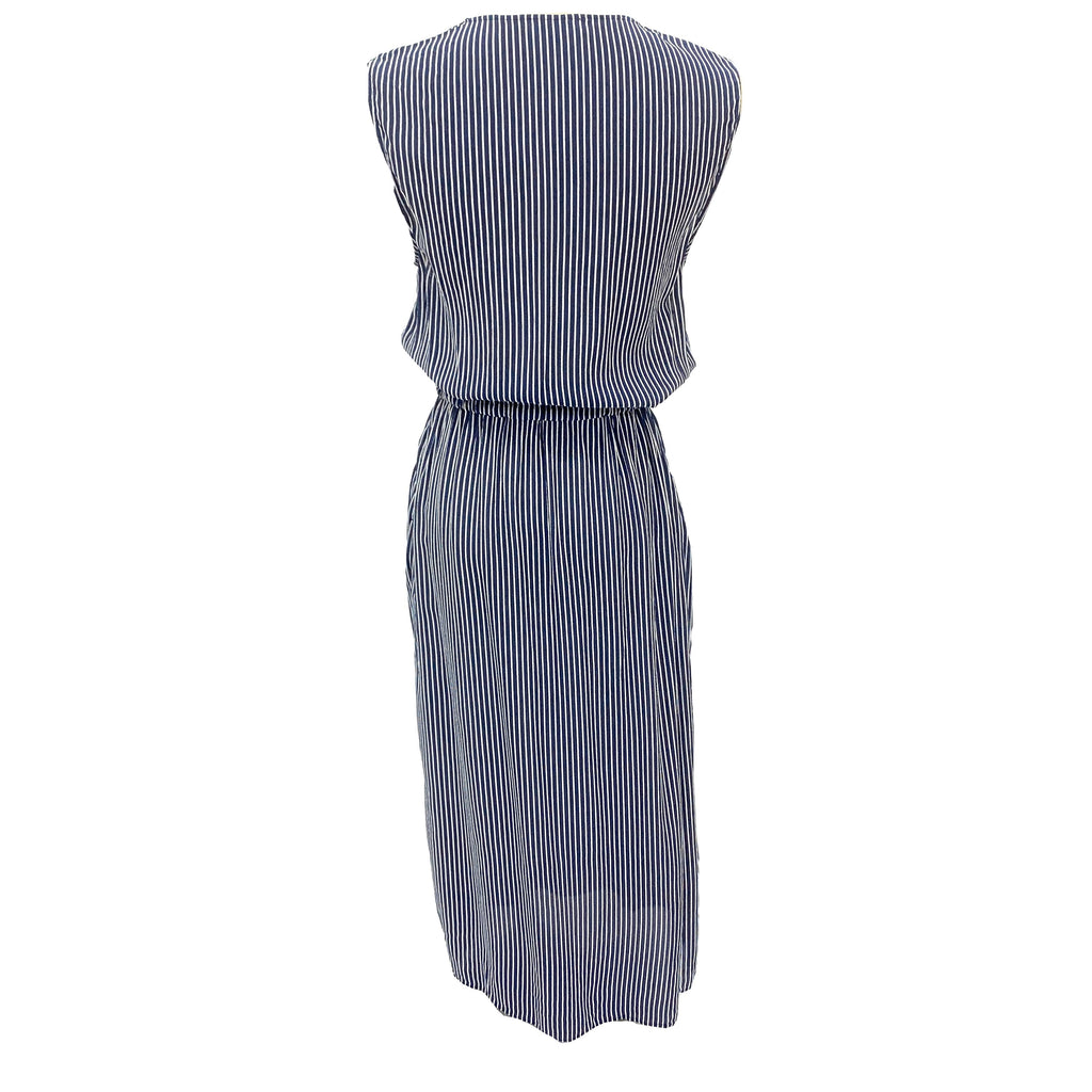 Claudie Pierlot striped sleeveless dress with lace insert