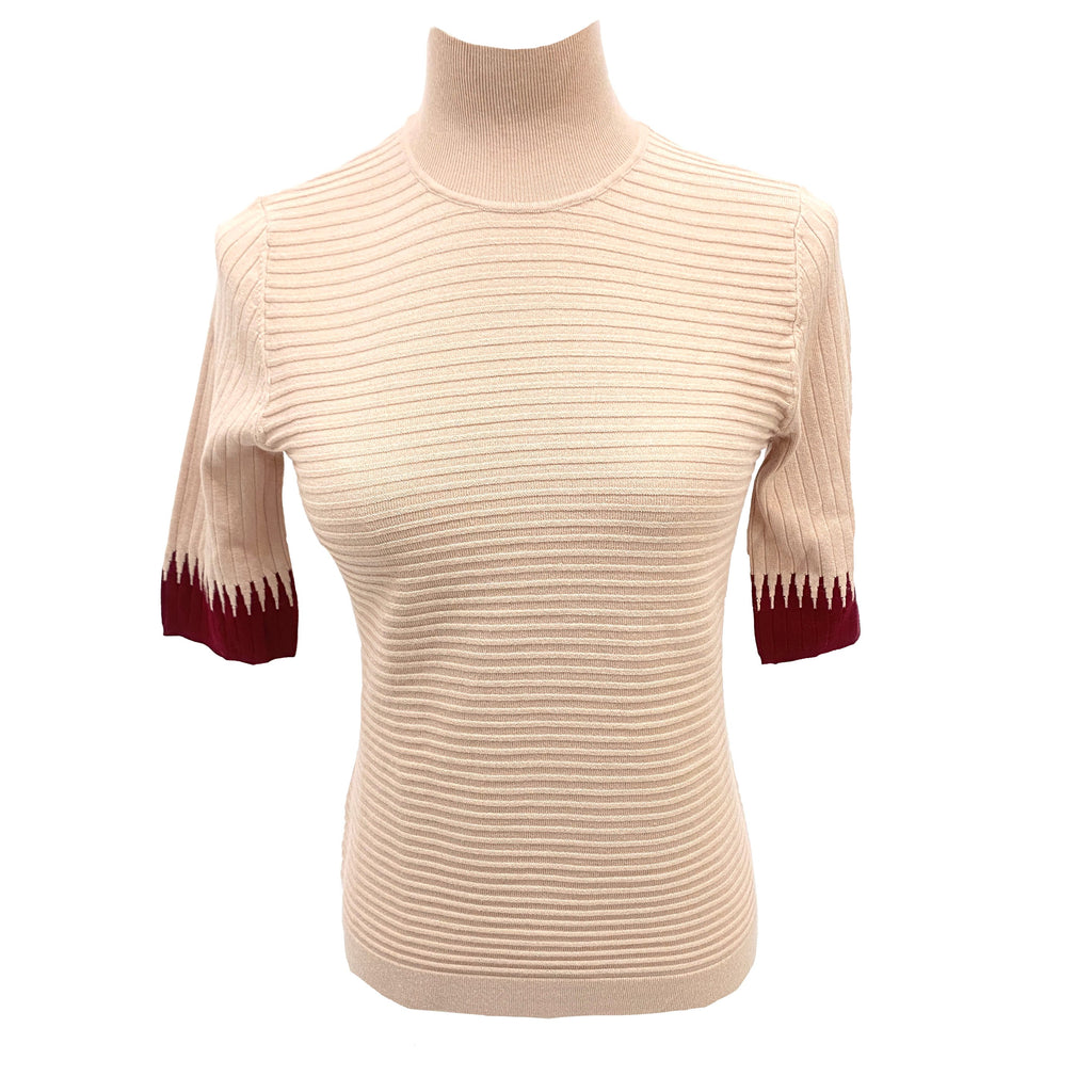 Pennyblack pink knit top with contrast colour cuff