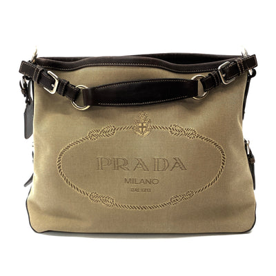 Prada canvas jacquard logo hobo bag with leather trim