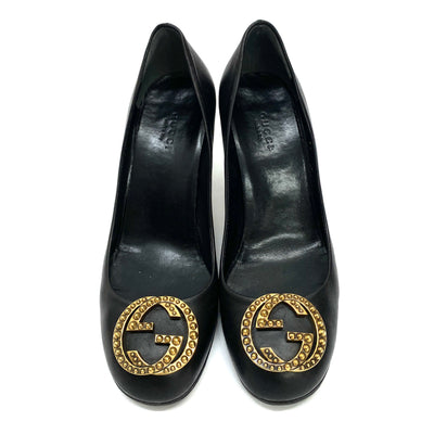 Gucci GG logo black leather heels