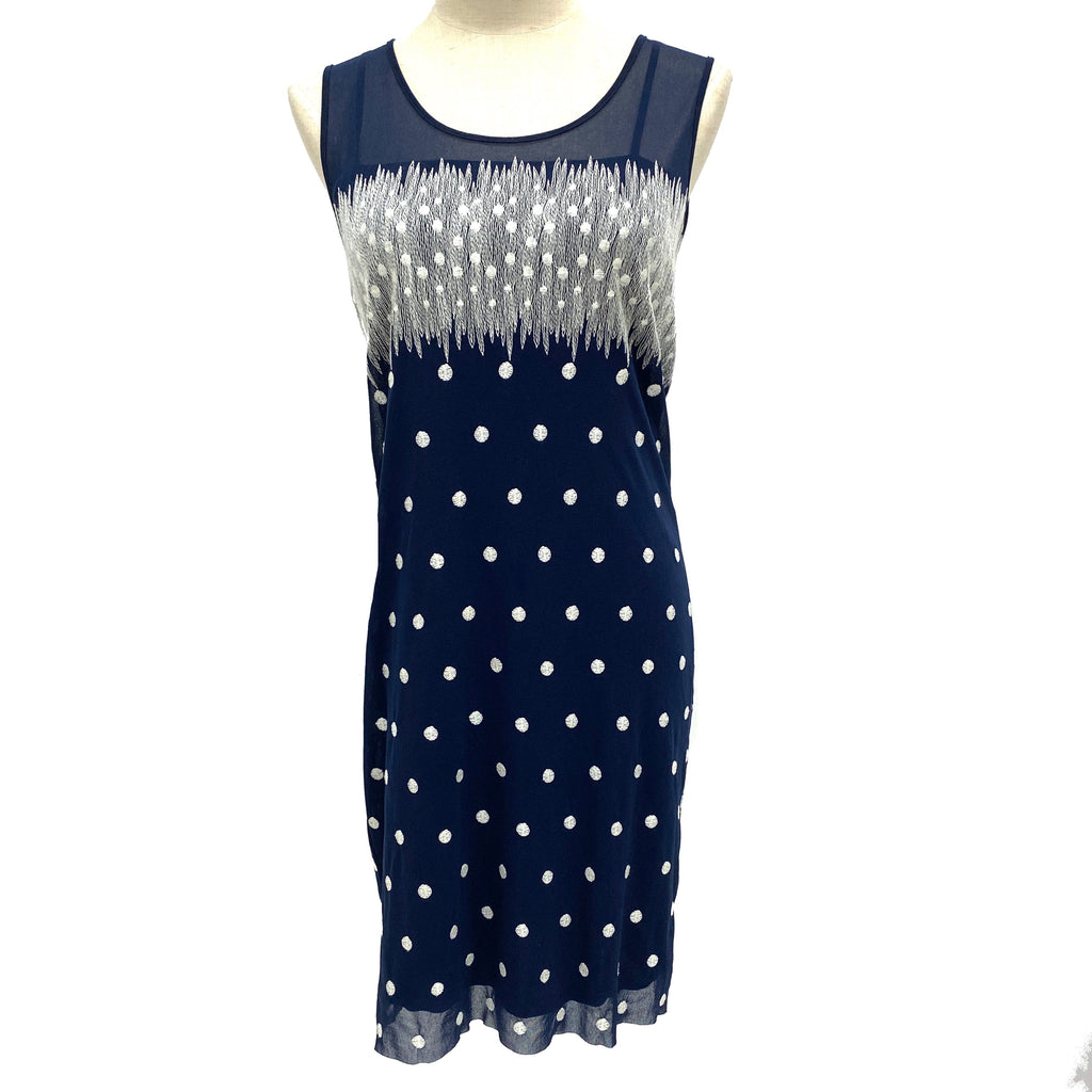 Vivienne Tam navy dotted sleeveless dress