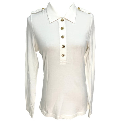 Tory Burch white long sleeve polo shirt