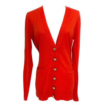 Tory Burch red wool long sleeves cardigan