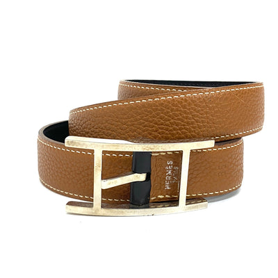 Hermes H logo brown leather belt
