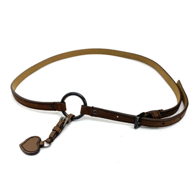 Prada thin leather belt with heart shape charm