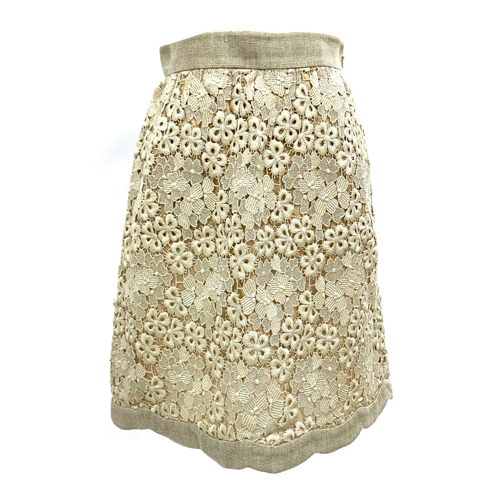 Valentino cotton-blend embroidery beige anglaise and linen skirt