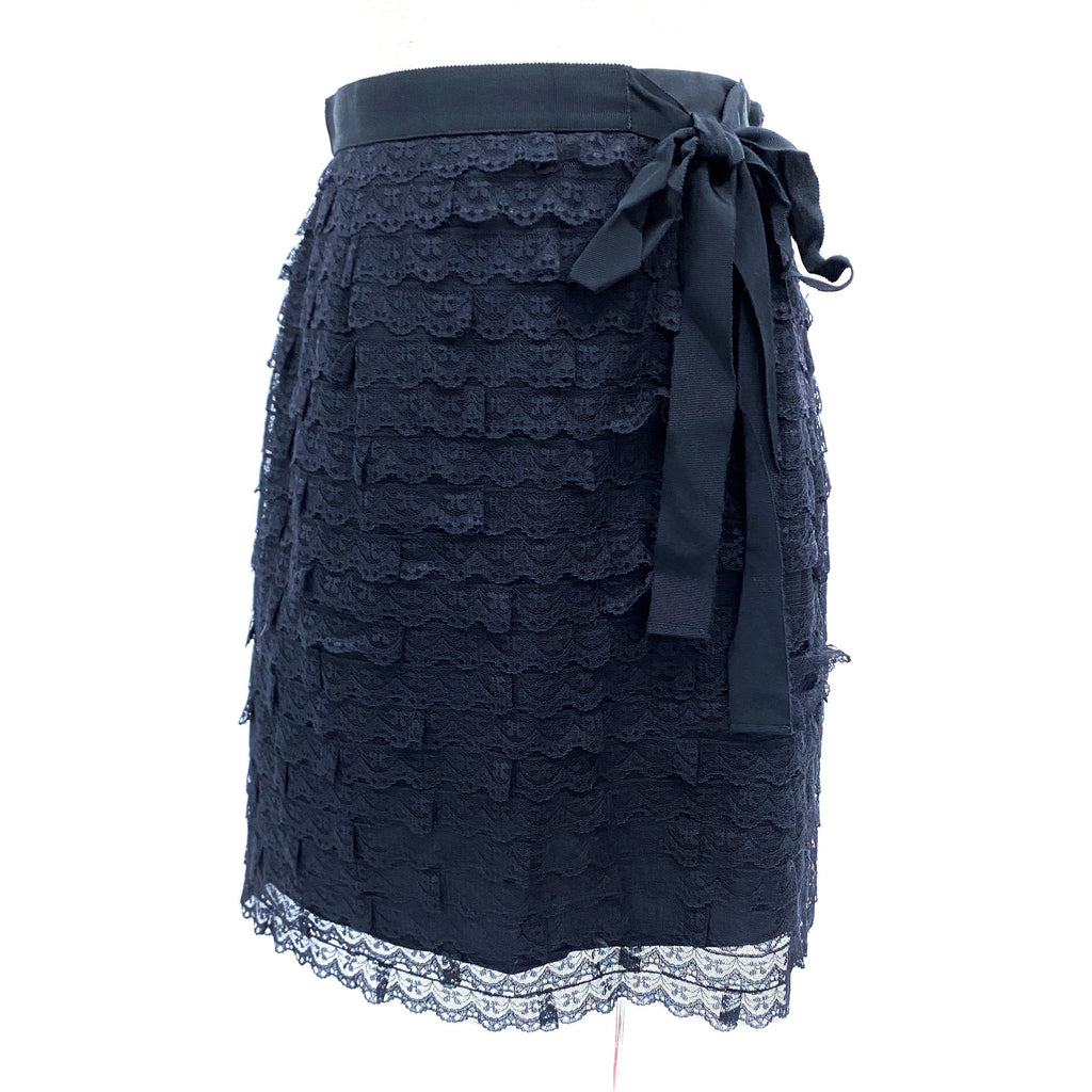Red Valentino black lace skirt with ribbon