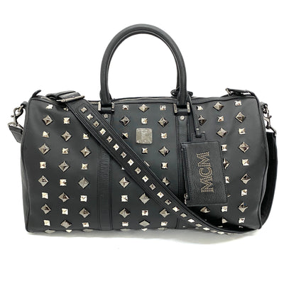 MCM black studded duffle bag