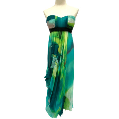 BCBG Maxazria blue and green maxi dress