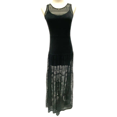 Guess black lace maxi dress