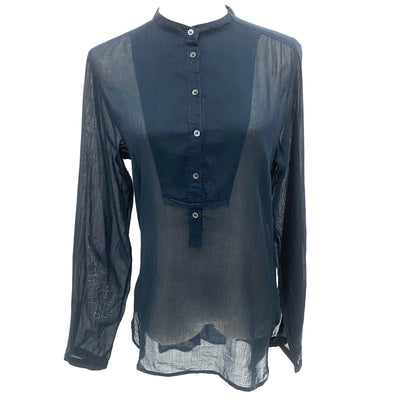 Prada navy round neck blouse