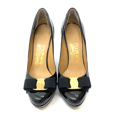 Salvatore Ferragamo Mirabel Patent Leather Wedge Pump