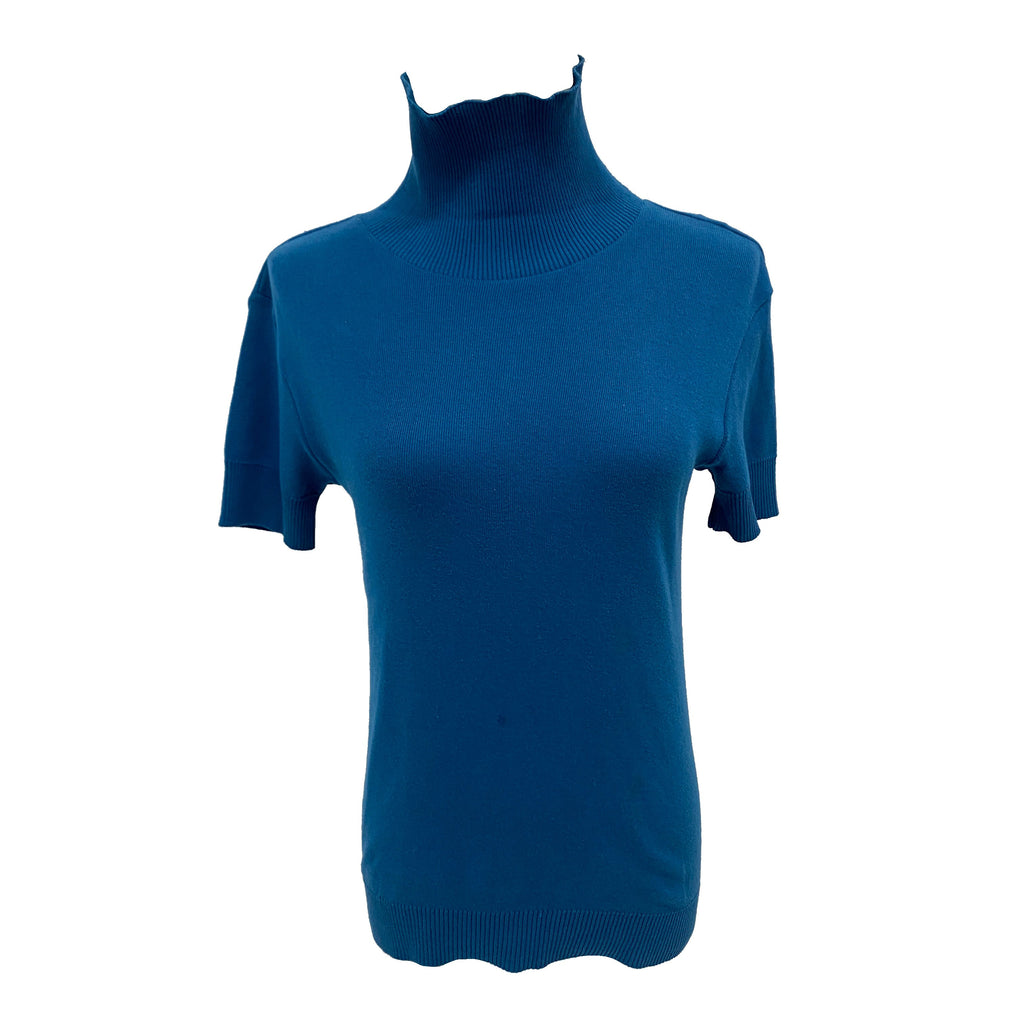 Agnes b blue turtleneck short sleeve top