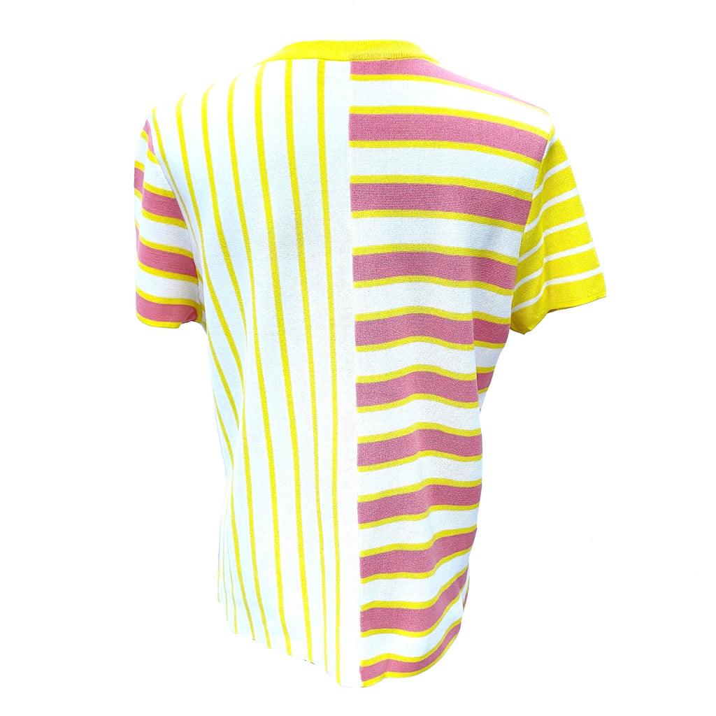 Max Mara pink and yellow striped knit top