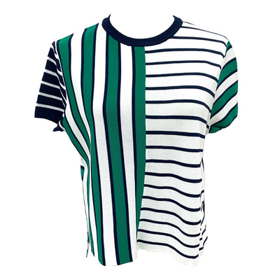 Max Mara green striped knit top