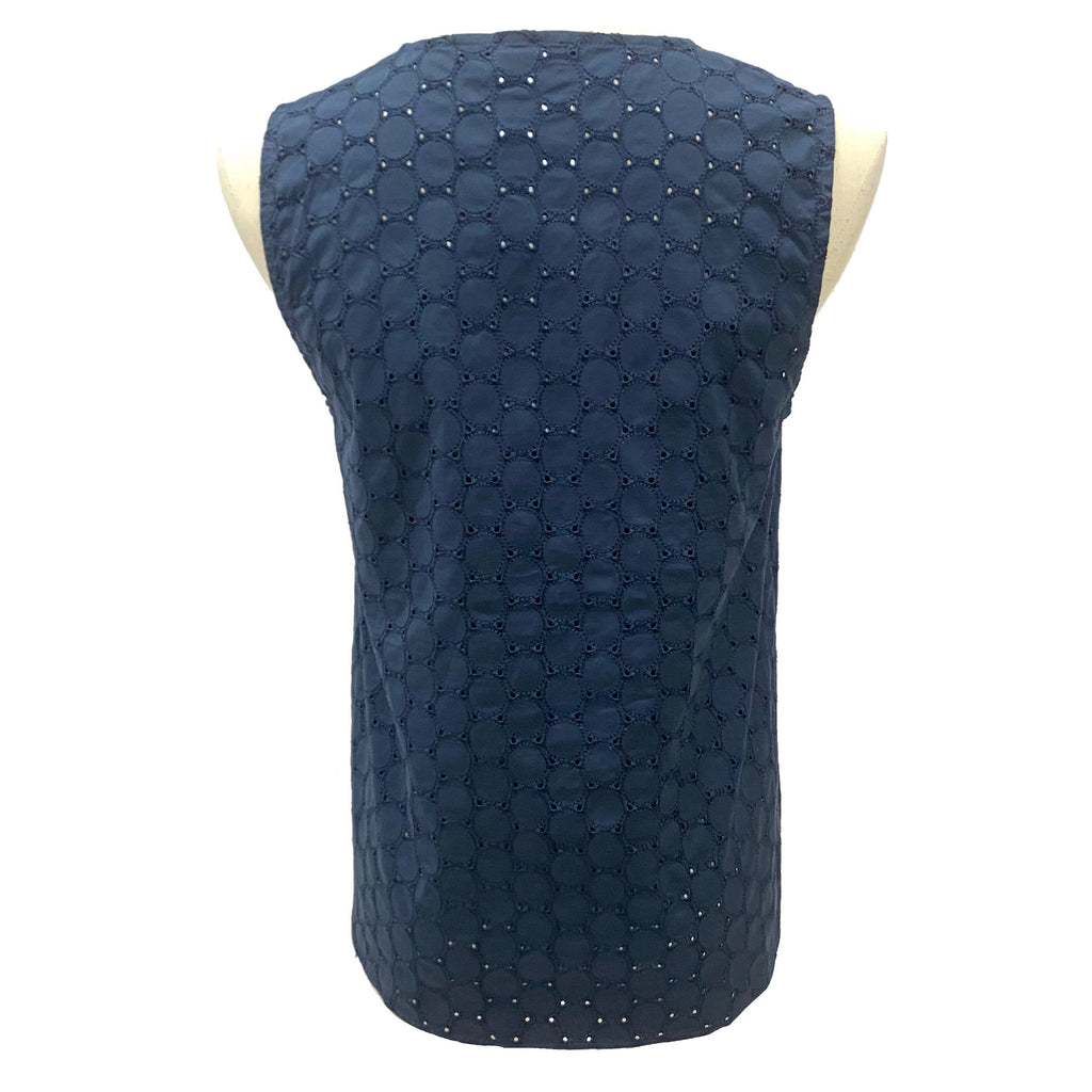 Max & Co. Navy eyelet cotton vest top
