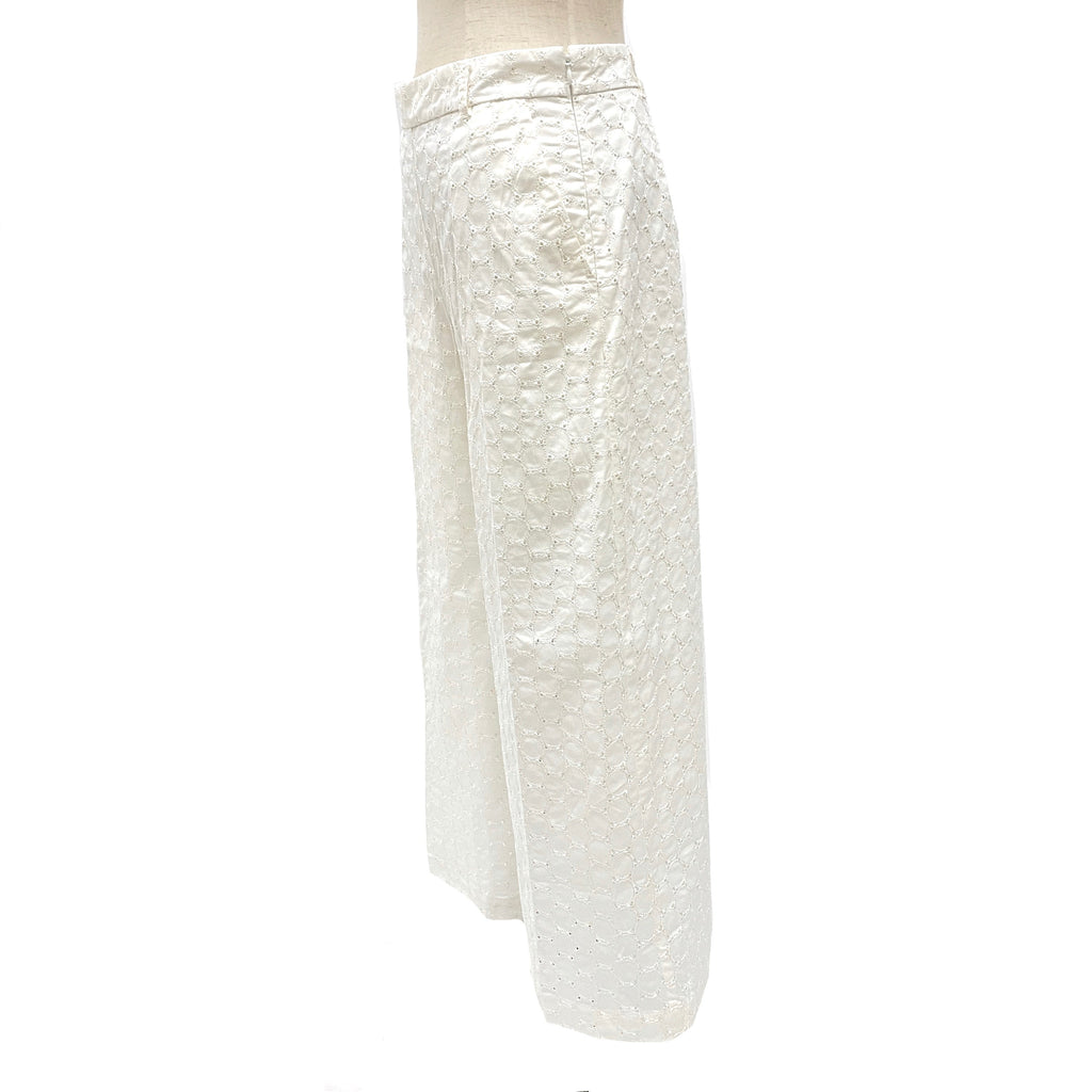 Max & Co. white eyelet cotton chopped wide leg pants