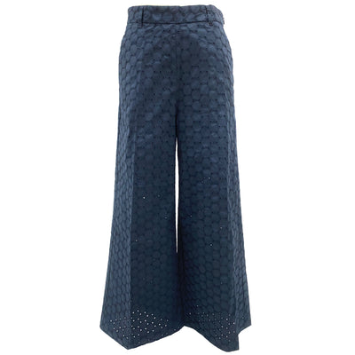 Max & Co. navy eyelet cotton chopped wide leg pants