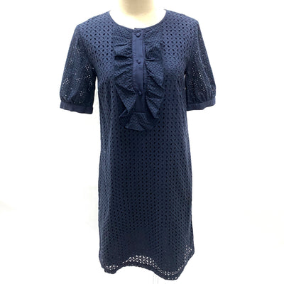 Max & Co. navy eyelet cotton short sleeve dress