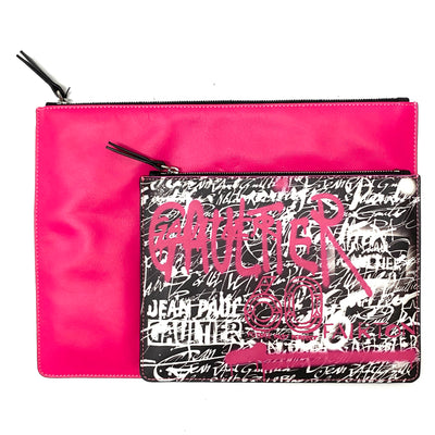 Jean Paul Gaultier X Fairton 60th Anniversary Limited Edition black & pink grafitti print clutch