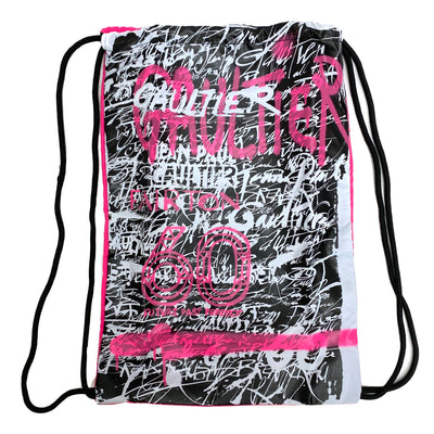 Jean Paul Gaultier X Fairton 60th Anniversary Limited Edition pink grafitti print drawstring bag