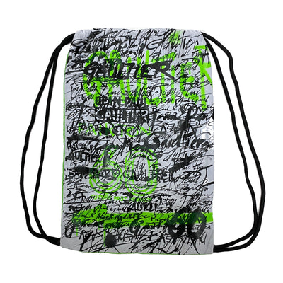 Jean Paul Gaultier X Fairton 60th Anniversary Limited Edition green grafitti print drawstring bag