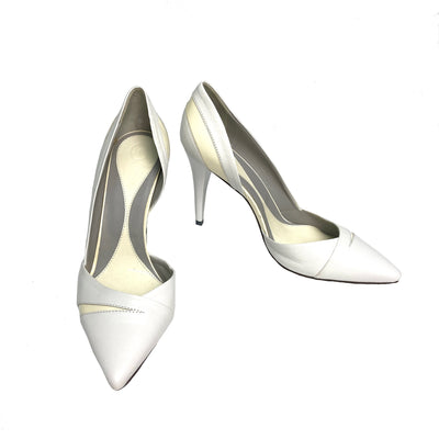 Alexander McQueen white leather Lex D'orsay pumps