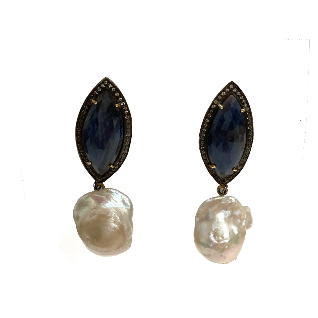 Satellite drop earrings with pearls