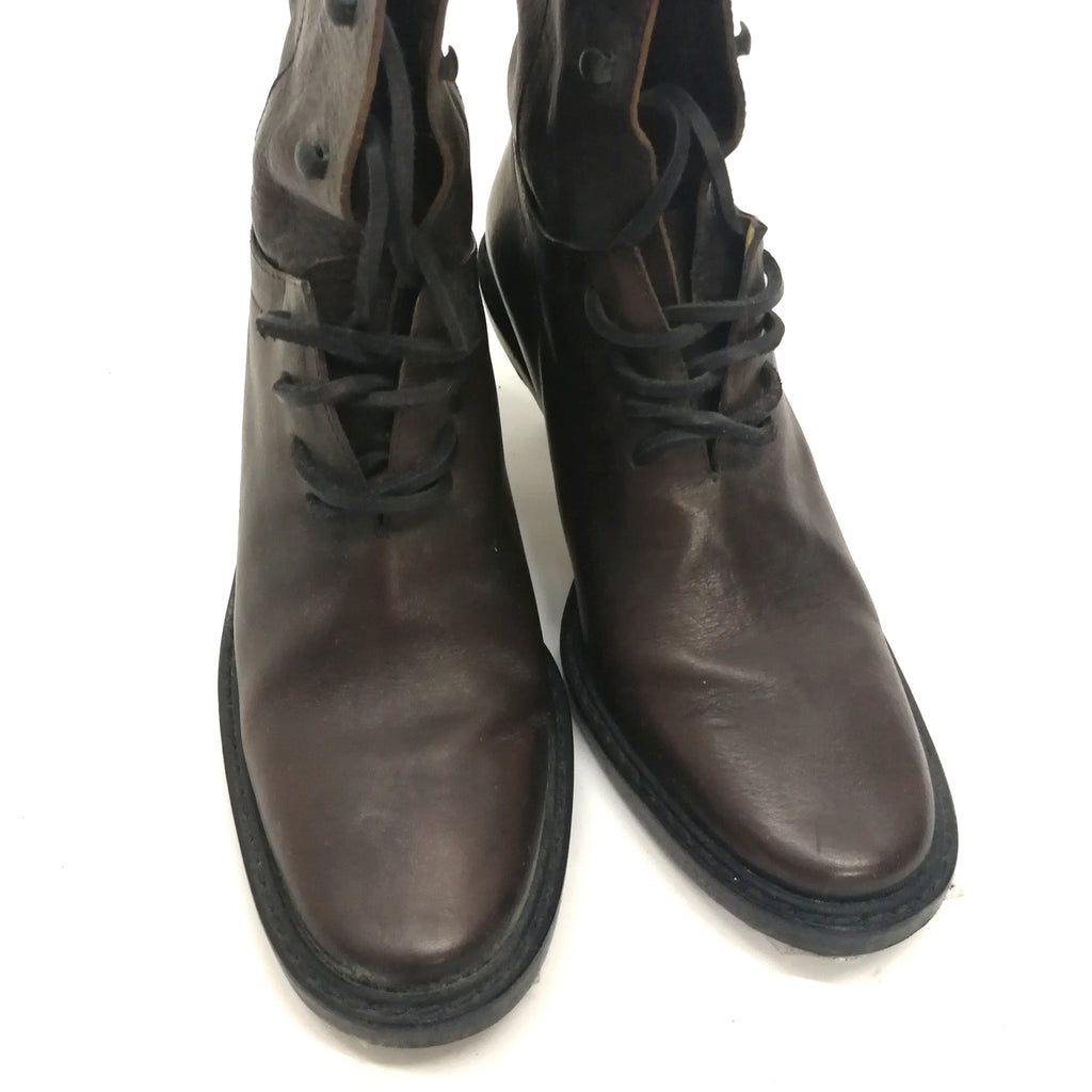 Ann Demeulemeester brown leather lace-up boots