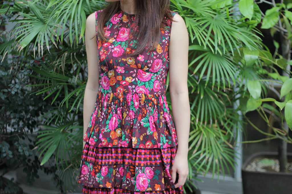 Anna Sui floral dress with ruffle bottom