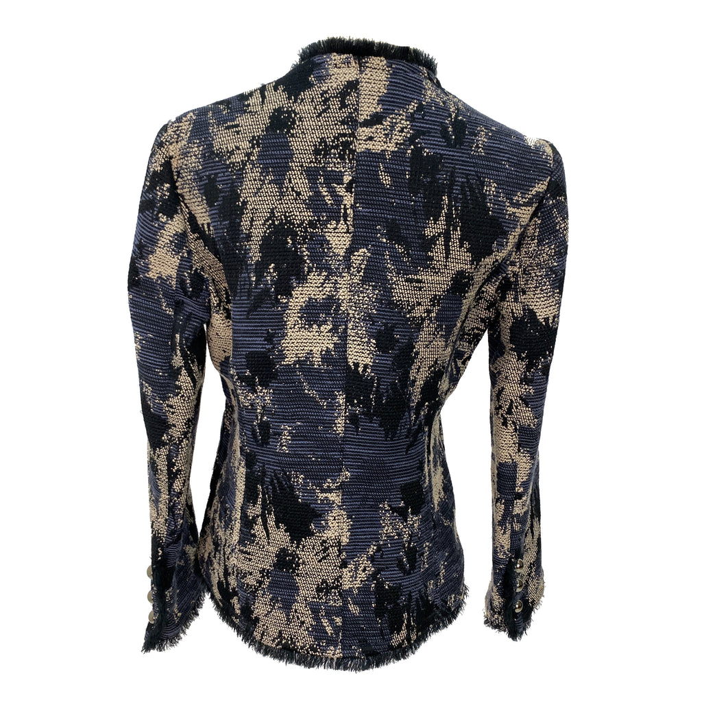Max & Co. floral pattern navy fringed twill jacket