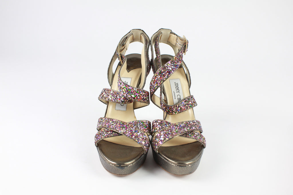 Jimmy Choo coarse glitter crisscross sandals