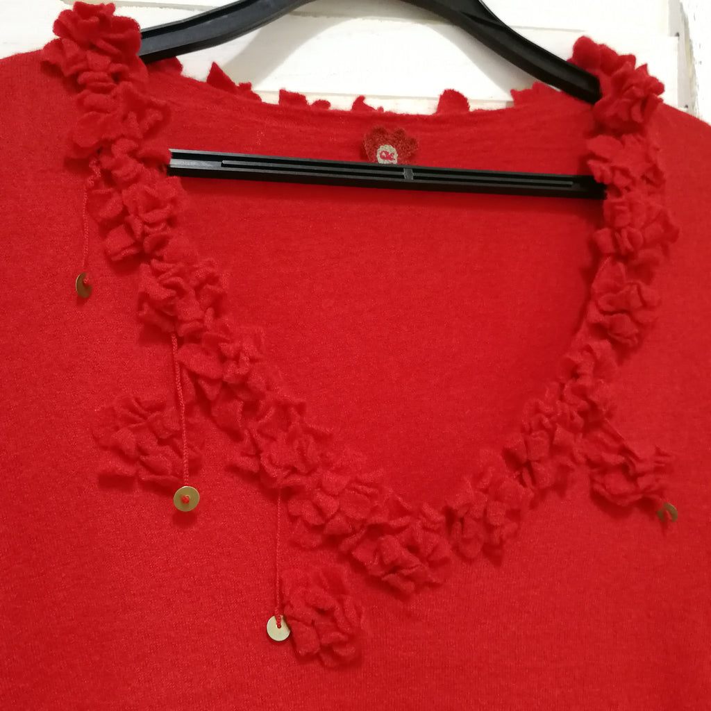 45RPM floral embroidered knit top