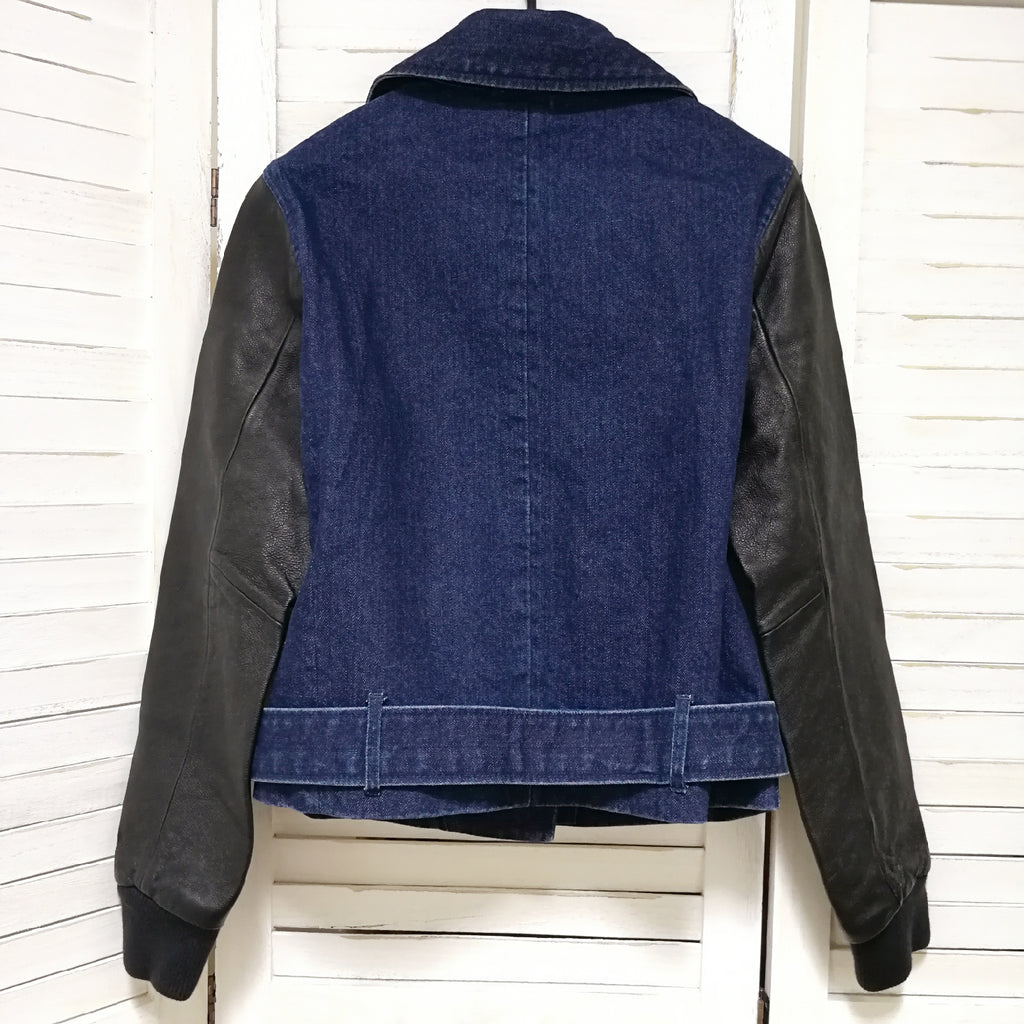 Nike NSW denim biker jacket with leather sleeves