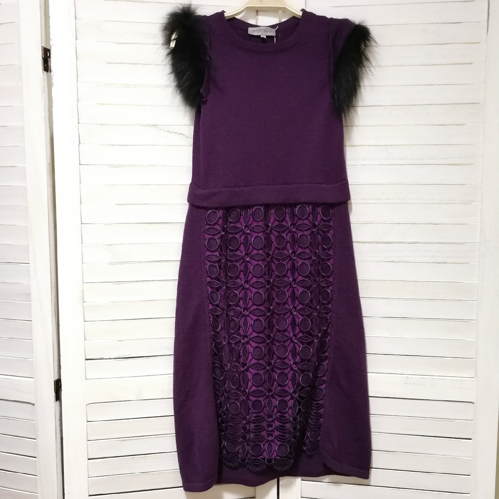 Sportmax knit dress with detachable faux fur