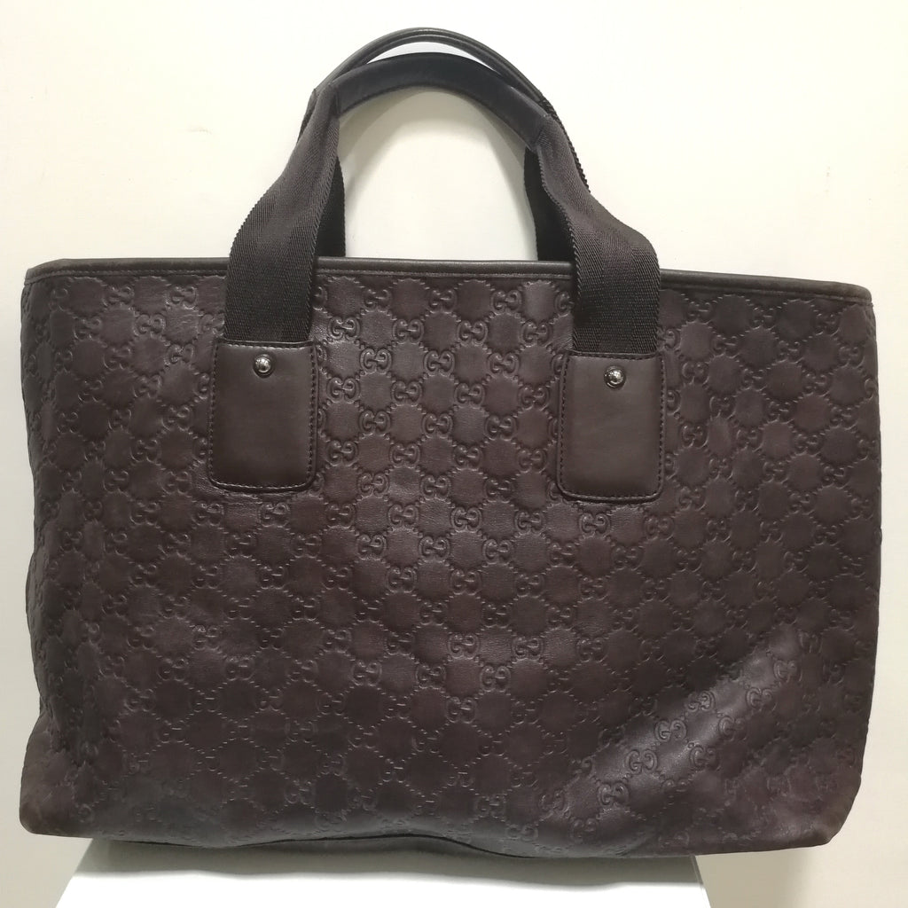 Gucci signature GG monogram large volume leather tote with shoulder strap
