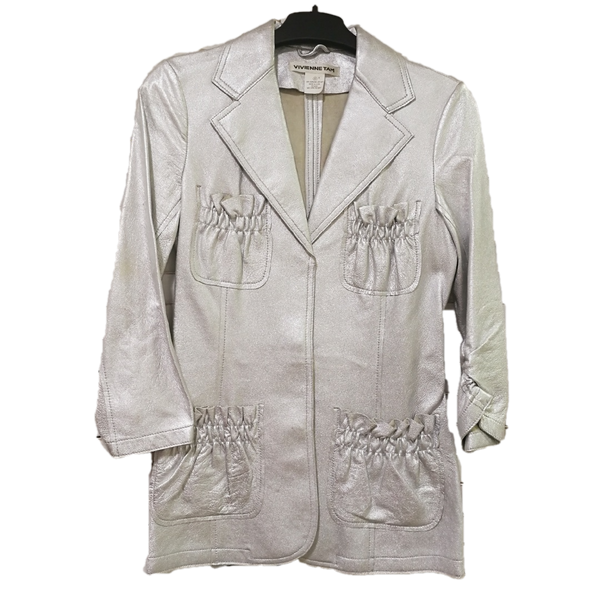 Vivienne Tam silver leather jacket