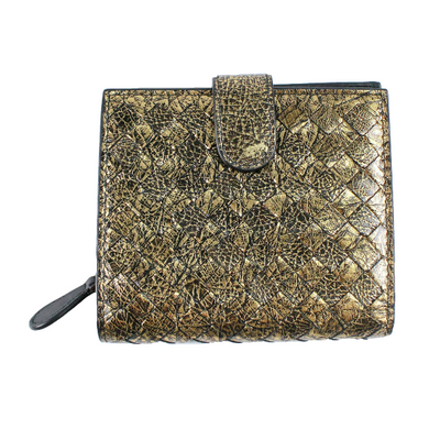 Bottega Veneta golden woven wallet