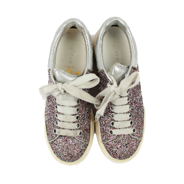 Alexander McQueen glitter-finished leather exaggerated-sole sneakers
