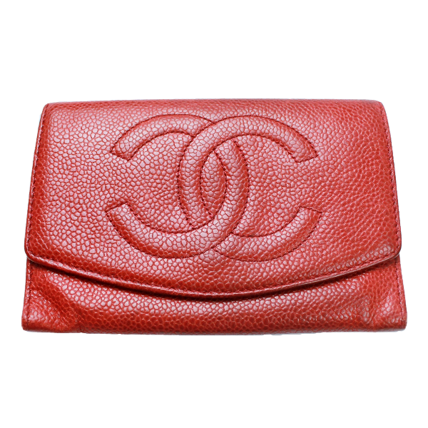 Chanel red caviar leather vintage wallet