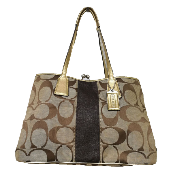 Coach kiss lock tote bag