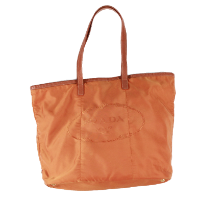 Prada orange nylon tote bag