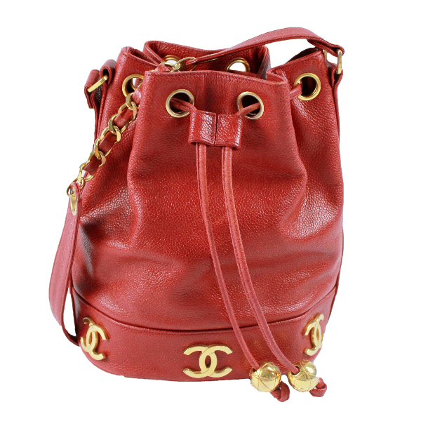 Chanel Vintage CC Logo Red Caviar Leather Drawstring Shoulder Bucket Bag