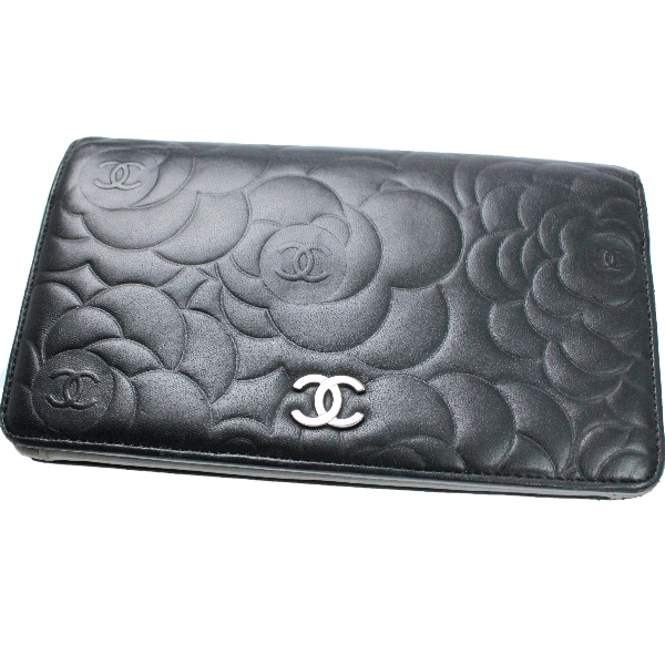 Chanel camellia long flap wallet