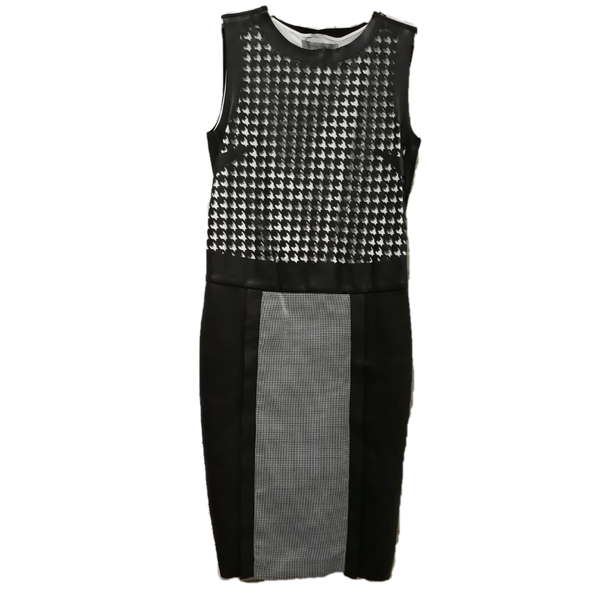 Sportmax leather look dogtooth eyelet dress