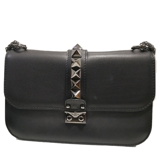 Valentino noir rockstud glam lock shoulder bag