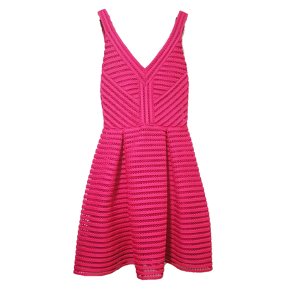 Maje rayure zip back dress in pink
