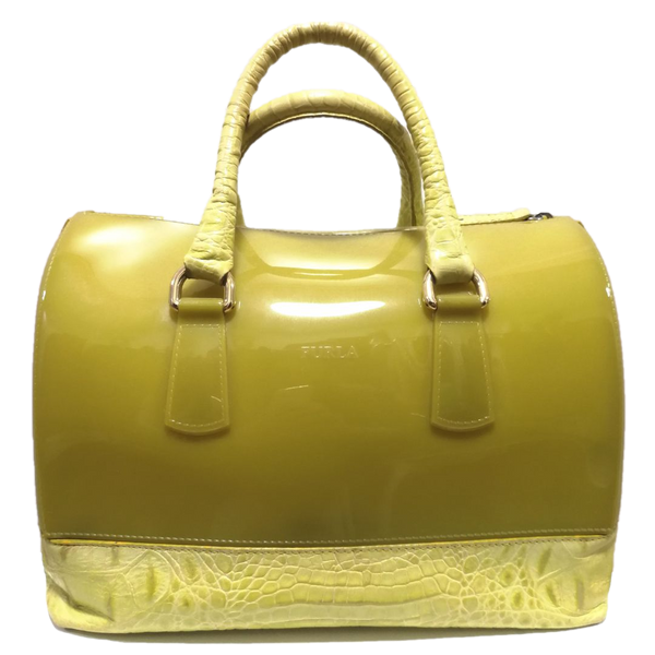 Furla lime croc embossed candy satchel bag